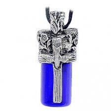 Dove & Cross Blue Cremation Necklace