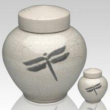 Dragonfly White Raku Cremation Urns
