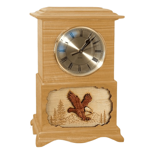 Eagle Clock Oak Cremation Urn