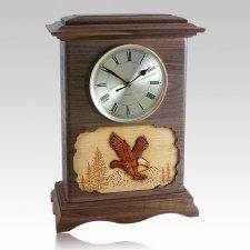 Eagle Clock Walnut Cremation Urn