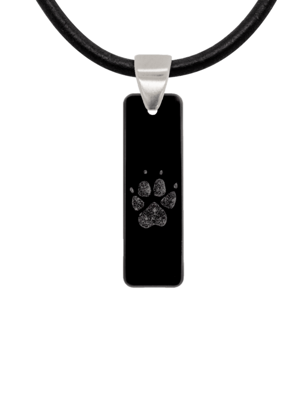 Black Pawprint Bar Pendant