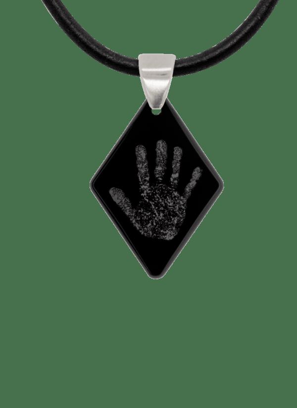 Black Handprint Diamond Pendant