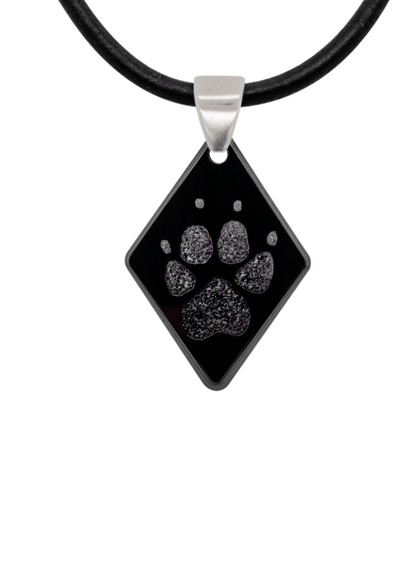Black Pawprint Diamond Pendant