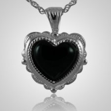 Etched Onyx Heart Keepsake Pendant
