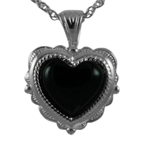 Etched Onyx Heart Keepsake Pendant