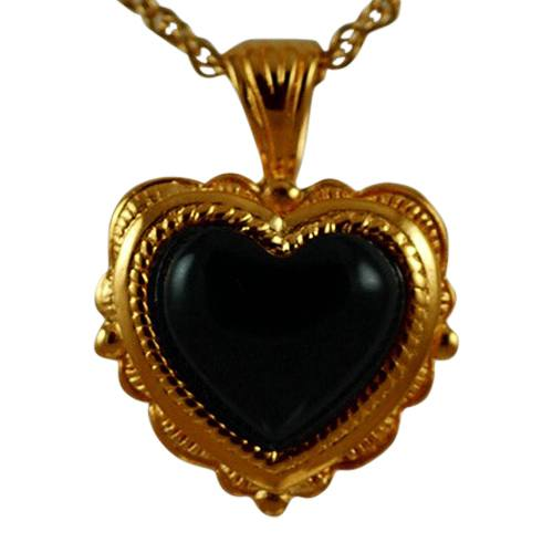 Etched Onyx Heart Keepsake Pendant III