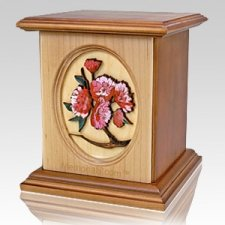 Eternal Flowers Wood Cremation Urn