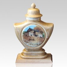Farm Home Ceramic Cremation Urn