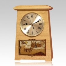 Farmhouse Astoria Clock Oak Cremation Urn