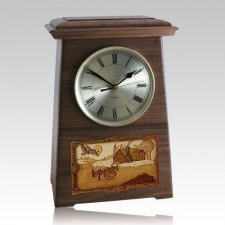Farmhouse Astoria Clock Walnut Cremation Urn