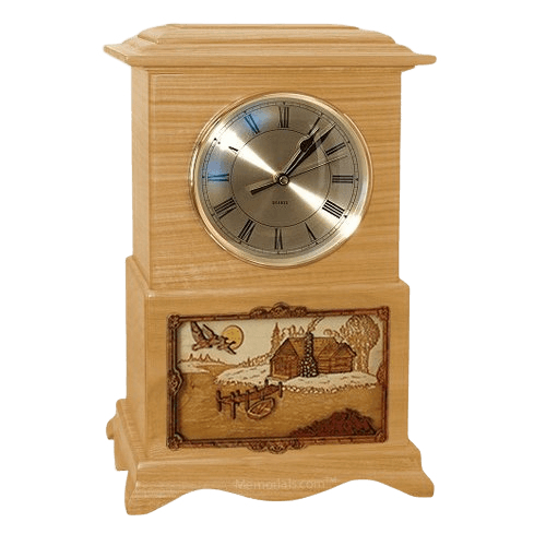 Farmhouse Clock Oak Cremation Urn