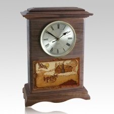 Farmhouse Clock Walnut Cremation Urn