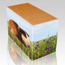 Field of Violets Oak Pet Picture Urn III