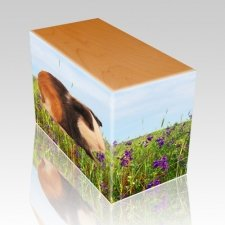 Field of Violets Oak Pet Picture Urn II