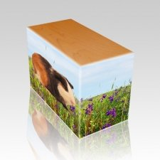Field of Violets Oak Pet Picture Urn