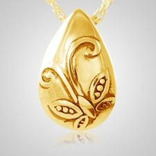 Filigree Butterfly Tear Gold Cremation Pendant