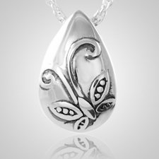 Filigree Butterfly Tear Cremation Pendant