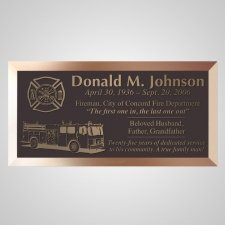 Firefighter Truck Bronze Plaque