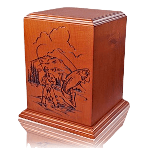 Fishermans Paradise Wood Cremation Urn