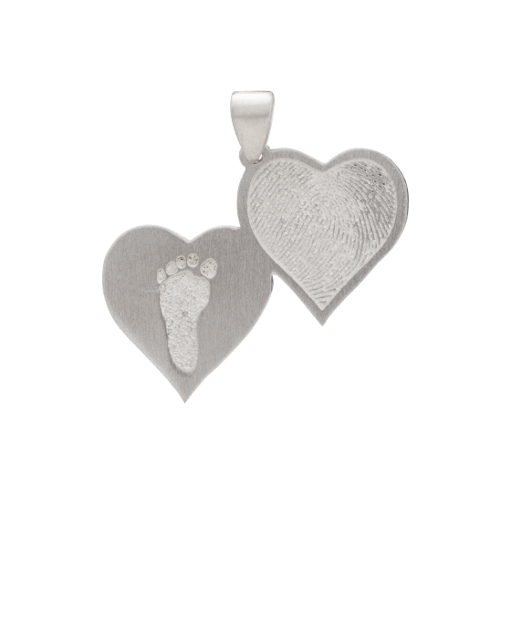 Double Heart Footprint White Gold Keepsake