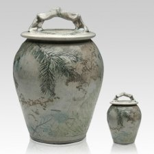 Forest Crackle Raku Cremation Urns