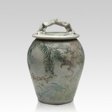 Forest Crackle Raku Medium Cremation Urn