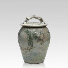 Forest Crackle Raku Small Cremation Urn
