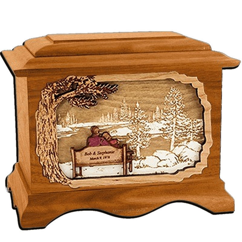 Forever Yours Mahogany Cremation Urn for Two