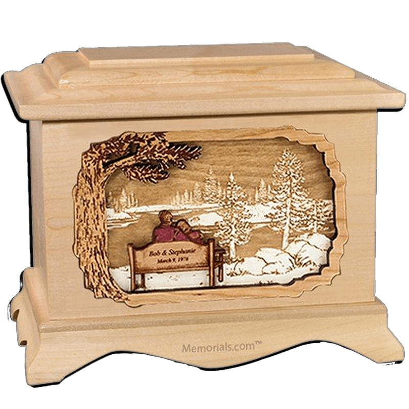 Forever Yours Maple Cremation Urn for Two