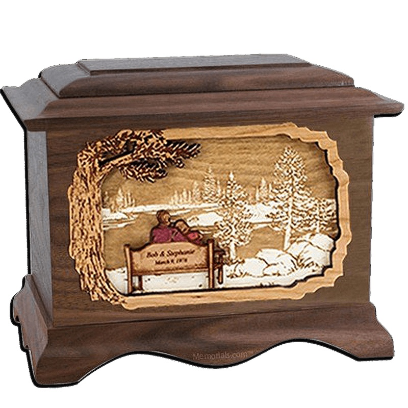 Forever Yours Walnut Cremation Urn for Two