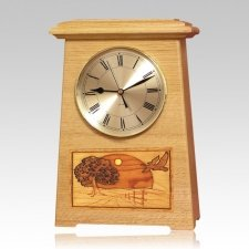Geese Astoria Clock Oak Cremation Urn
