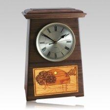 Geese Astoria Clock Walnut Cremation Urn