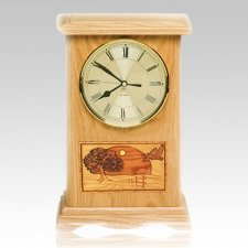 Geese Clock Oak Cremation Urn