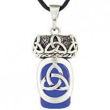 Celtic Trinity Blue Glass Cremation Necklace