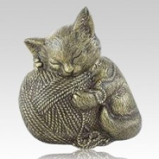 Gold Cat Cremation Urn