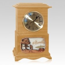 Golf Clock Oak Cremation Urn