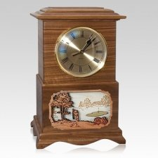 Golf Clock Walnut Cremation Urn