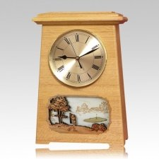 Golf Astoria Clock Oak Cremation Urn