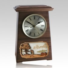 Golf Astoria Clock Walnut Cremation Urn