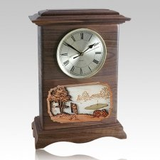 Golf Clock Walnut Cremation Urn