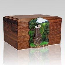 Golfbag Figurine Wood Cremation Urn