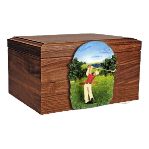 Golfer Figurine Wood Cremation Urn