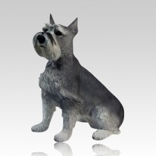 Gray Schnauzer Dog Cremation Urn