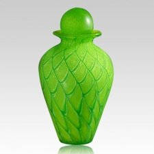 Shining Green Glass Urns