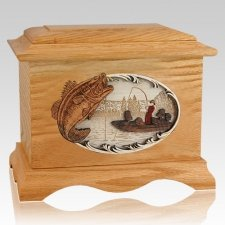 Catch of the Day Oak Cremation Urn