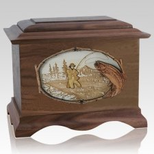 Fly Fishing Walnut Cremation Urn
