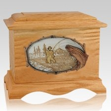 Fly Fishing Oak Cremation Urn