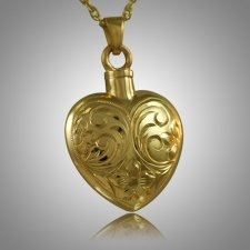 Flower Etched Heart Keepsake Pendant II