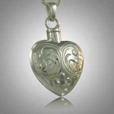 Flower Etched Heart Keepsake Pendant