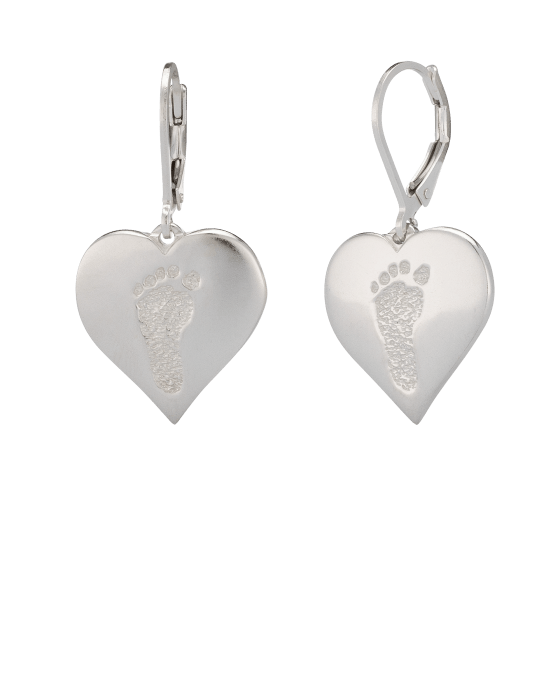 Heart Earrings Footprint White Gold Keepsake